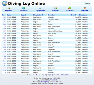 Diving Log Online blue theme