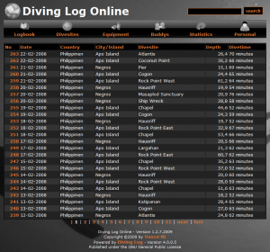 Diving Log Online black theme
