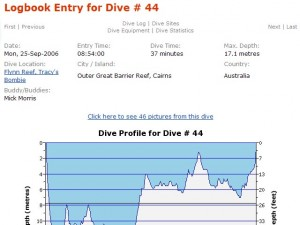 phpDivingLog dive profile
