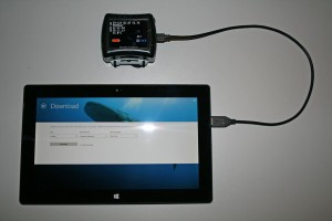 Download dives on a Windows 8 tablet