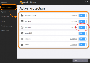 Disable Avast Web Shield